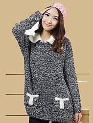 ts mujeres de color simplicidad contraste informal suéter de los suéteres