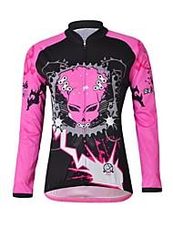 CHEJI Women's Devil High Quality Ultraviolet Resistant Terylene Long Sleeve Cycling Jersey—Pink+Black