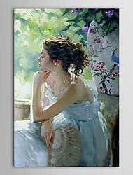 iarts®hand peints gens de peinture à l'huile pensée femme avec cadre étiré