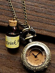 petite rétro souhaitant bouteille teintée verre de montre de quartz de collier de mouvement des femmes