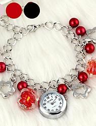 Femme Bracelet de Montre Quartz Alliage Bande Fleur Perles Noir Rouge Rose Noir Rouge Rose
