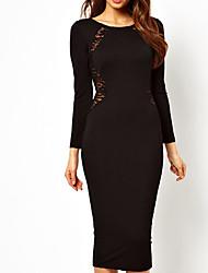 rodada vestido de renda pescoço de mulheres elegantes