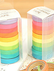 Colorful Rainbow Design Scrapbooking Adhesives Tape(10 PCS)