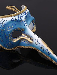 Magic Blue and White Hand Painted PVC Italian Proboscis Mask