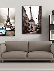 Leinwandkunstlandschaft Eiffelturm Romantik Satz von 2