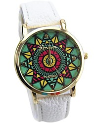 Women's Multicolor Print Bohemia Style PU Leather Band Analog Quartz Wrist Watch (Assorted color)