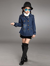 Girl's Solid Jacket & Coat,Cotton Blend Winter / Spring / Fall Blue