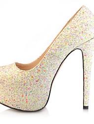 bombas de couro envernizado plataforma sapatos stiletto calcanhar das mulheres de escritório / sapatos de festa