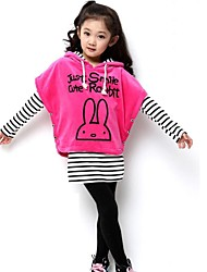 Girl's Rabbit Stripes  Hoodies Three Pieces Clothing Sets