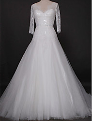 Lanting Bride Fit & Flare Wedding Dress-Cathedral Train V-neck Lace / Tulle