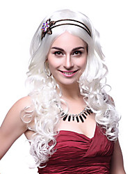 Sweet Princess Long Curly Hair White 65cm Women's Halloween Party Wig