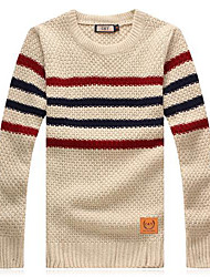 Men's Printed Stripes Round Collar Knit Sweater