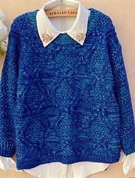 Women's Short After Long  Before Mixed Color Diamond Lattice Sweater
