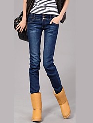 Women's 2014 New Fashion Mid-Rise Zipper Fly Washed Bleached Long Pencil Cotton Jeans