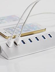 7 puertos USB 3.0 hub de aluminio concentrador portátil