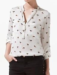 Women's Print White Blouse/Shirt , V Neck Long Sleeve
