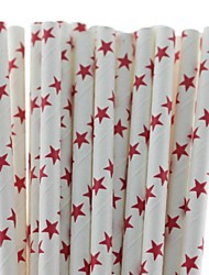 Food Safe Star Design Paper Drinking Straws for Christmas (25 PCS)