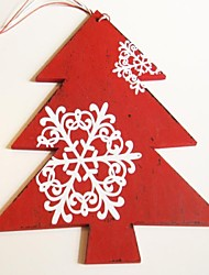 Christmas Hanging Decoratives Red Tree  White Snowflower Shape 1 PC MDF Materiels for Christmas Decorations