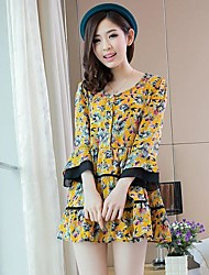 Women's Casual/Daily Loose Dress,Print Round Neck Above Knee Long Sleeve Blue / Beige / Yellow Others Fall / Winter