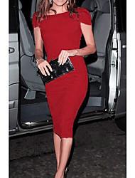 VICONE Women's Short Sleeve Sexy Bodycon Round Collar Slim Dresses