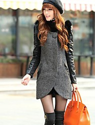 Women's In the long Splicing Sleeve Luxury Collars Big Coat