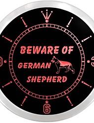 Beware of German Shepherd Dog Neon Sign LED Wall Clock