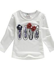 meisjes in de lente en de herfst outfit 100% katoen borduren lange mouw t-shirt