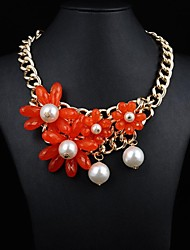 Women's Pearl Red Flower Necklace