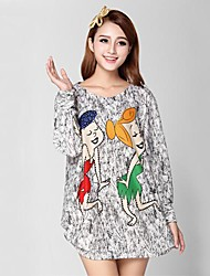 Women's Cashmere , Sexy/Casual/Print/Beach/Cute/Party Long Sleeve