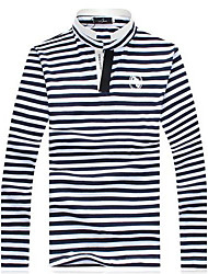 Men's Collar Stripe Long Sleeve T-shirt