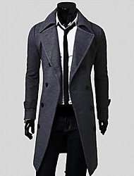 Uomo Men's Lapel Collar Double-breasted Trench Coat