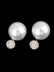 Pearl AB Color Diamond Ball Earrings (1 Pair)