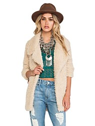 Women Faux Fur Outerwear/Top , Lined