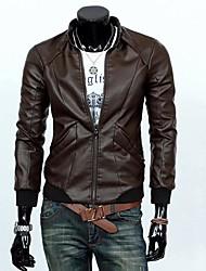 la manera del nuevo faux abrigo de cuero de la PU de los hombres
