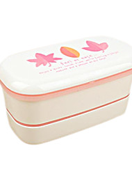 Plastic Japanese Maple Leaf Double-deck Lunch Box,15.5x8x8cm