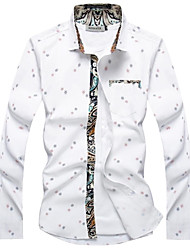 Men New Personalized Korean Style Printing Slim Long-sleeved Shirt