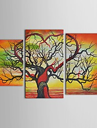 Hand Painted Oil Painting Landscape    Dead Tree Art with Stretched Frame Set of 3
