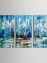 IARTS®Hand Painted Oil Painting Abstract Wetland Wall Decor with Stretched Frame Set of 3