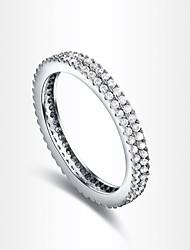 clássico fila dupla feminina de zircão prateado anéis de instrução (1 pc)