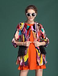 Zijindiao® Women's Genuine Mink Fur Coat with Fox Fur Packet
