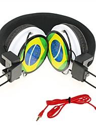 wzs- ergonomische hallo-Fi-Stereo-Kopfhörer mit Mikrofon Mikrofon -Brasilien Flagge - schwarz