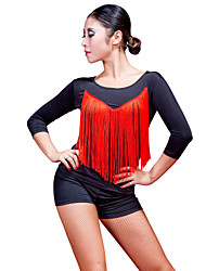 Fashion Dancewear Viscose With Tassels Dance Top For Ladies(More Colors)