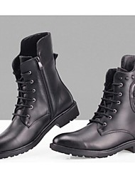 Men's Spring Summer Fall Winter Motorcycle Boots Fashion Boots Leather Fur Casual Low Heel Lace-up Black