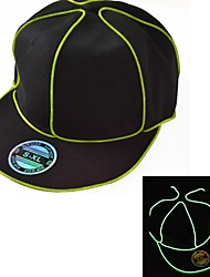 Black Light Up Hat with Green EL Wire LED Glow Snapback 1AAA battery