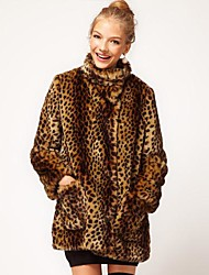 Women's Sweet Faux Fur Leopard Long sleeve Loose Long Coat