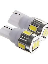 T10 3W 250LM 6000-6500 6-SMD 5730 привели прохладный белый лицензии свет автомобильных номеров / настольная лампа (dc12v 2шт)