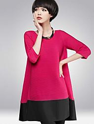 гр&W женская начес 3/4 рукав свободно поместиться сладкий элегантный модное платье