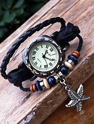 Women's Retro High Quality Pentagram Leather Quartz Movement Bracelet Watches