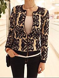 Cute Lady Women's Classic Printed Knited Slim Coat