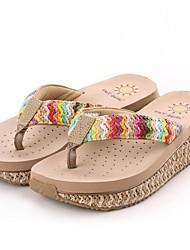 zapatos de las mujeres flip flop sandalias de cuña de rafia hecha a mano de los zapatos más colores disponibles